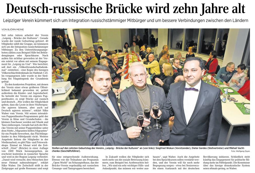 10-jähriges Jubiläum des LBK e.V. in der LVZ (11.01.2016)