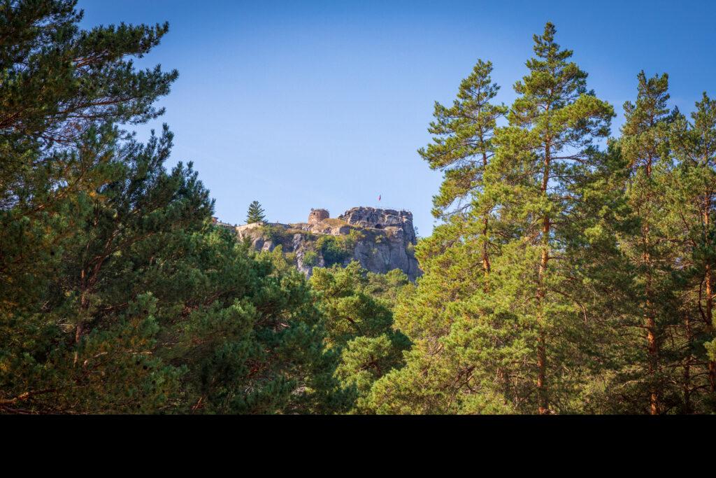 Руины замка Регенштейн вид снизу со стороны